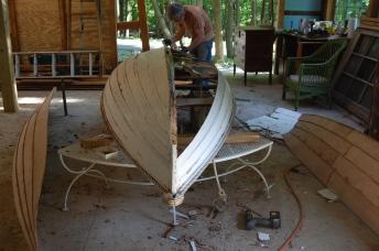 wood rowboat rebuild