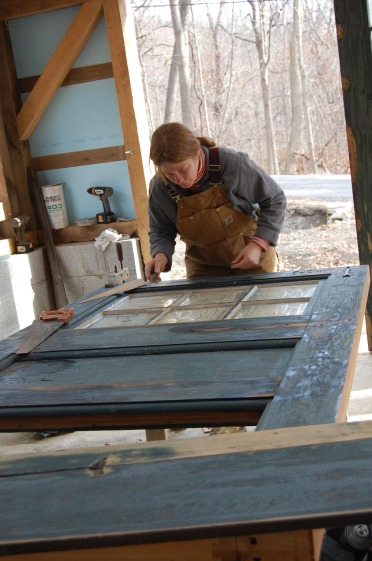 Salvaged door restoration- handmixed linseed oil paint- cold spring ny