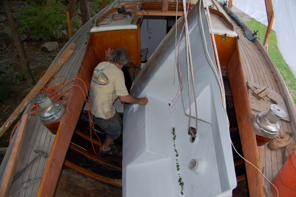New Cockpit being installed in Wooden boat Tiger Maru