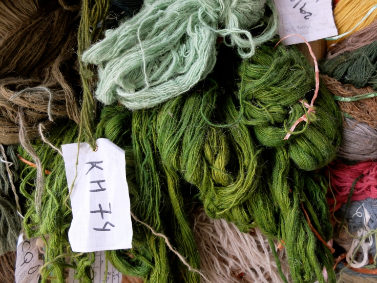 green natural dyed wool