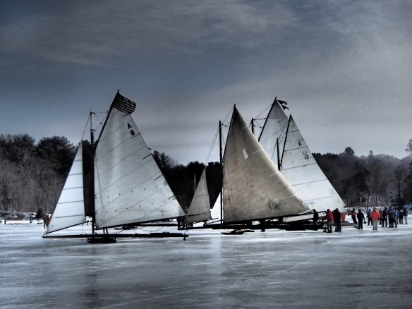 We are wooden boat lovers. Ice boats made of wood on the ice of the Hudson River.