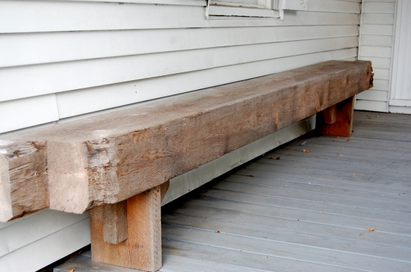 rustic beam bench