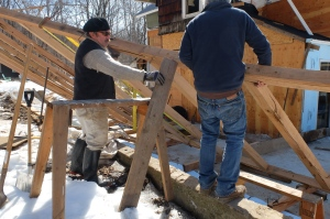timberframe salvaged storm sandy wood